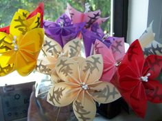 Origami Paper Kusudama Flowers With Kanji by GracelinePaperStudio, $12.50
