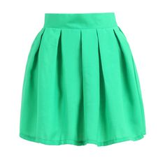 SheIn(sheinside) Green Pleated Flare Skirt ($20) ❤ liked on Polyvore featuring skirts, bottoms, faldas, shein, green, green skirt, skater skirt, circle skirt, short skirts and pleated skirt