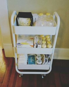 Breastfeeding pumping station. Breast pump organization and storage. Cart is from Target, IKEA has a similar cart. Cart was $24. -Raya Whitworth