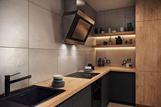 Современный интерьер кухни без навесных шкафов. Вытяжка особого дизайна, большой кухонный фартук из карамогранита.