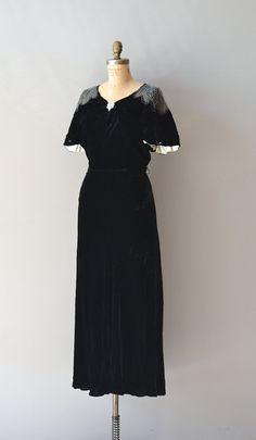 1930s beaded silk velvet dress