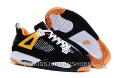 online retailer d0bd2 f750f HOT NIKE AIR JORDAN 4 KIDS BLACK WHITE ORANGE SHOES