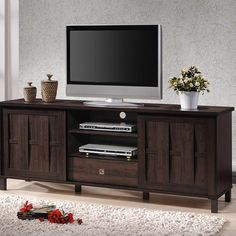 Unna Contemporary 70.2 in. W x 17.55 in. D Dark Brown Wood Finish Wood TV Stand