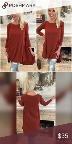 Beautiful hi lo rust tunic! 😊 Sooo soft with lots of stretch- figure flattering fitted in bust and flowy bodice - rounded hemline in hacci material Tops Tunics