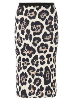 This fabulous leopard printed pencil skirt with a black waist band would be a great addition to any girl's wardrobe. The wearing length is approximately 72cm and this skirt would look sensational with a black top. It's available from Dorothy Perkins.