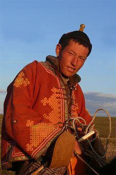 Cavalier in traditional Mongolian dress.