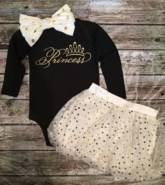Baby Girl Princess Onesie, Gold and Black Onesie, Princess Shirt, Onesie For Baby Girls Shirt for girls Gold & Black Onesie Our onesies are a huge Baby Outfits, Outfits Niños, Kids Outfits, Toddler Outfits, Baby Boys, My Baby Girl, Toddler Girls, Baby Girl Shirts, Shirts For Girls