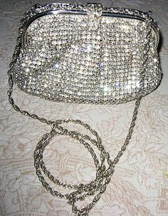 Fabulous All Over Rhinestone & Silver Trimmed Evening Shoulder Bag!