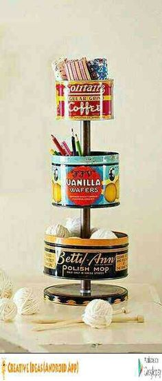 DIY Vintage Tin Craft Organizer TUTORIAL Vintage tins can be found at flea markets and online auction sites for as little as 1 each bhg Diy Vintage, Vintage Tins, Vintage Crafts, Vintage Decor, Vintage Sewing, Vintage Craft Room, Vintage Coffee, Vintage Market, Tin Can Crafts