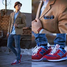 Blazer (Marc by Marc Jacobs) Shirt (Marc by Marc Jacobs) Pocketsquare (Marc by Marc Jacobs) Jeans (H) Sneakers (New Balance) Hat (Zara) Sneakers Outfit Men, Jeans And Sneakers, Look Fashion, Mens Fashion, Fashion Outfits, Zara Hats, New Balance Outfit, Blazer Shirt, Business Casual Attire