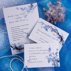 Cheap Blue blossom floral wedding invitations EWI165 |