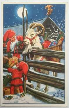 Elves Ram Presents Jenny Nystrom Holiday Christmas Counted Cross Stitch or Counted Needlepoint Pattern Christmas Gnome, Vintage Christmas, Christmas Holidays, Christmas Cards, Norwegian Christmas, Scandinavian Christmas, Needlepoint Patterns, Counted Cross Stitch Patterns, Yule Goat