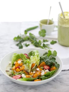 Butternut Squash Butter Salad with Spicy Avocado Dressing - skipped the buttermilk and added more lemon for creaminess
