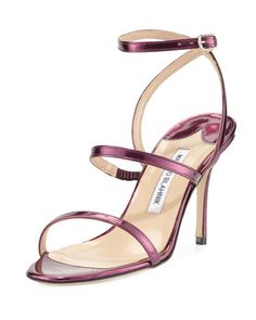 X2XJC Manolo Blahnik Didin Metallic Strappy High-Heel Sandal, Purple