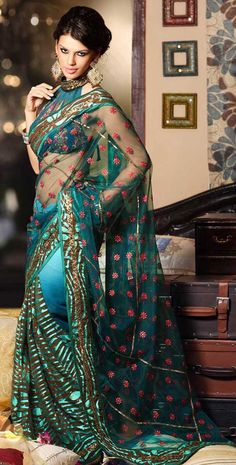 Green Net & Crepe Sari Party Wear Saree With Embroidery