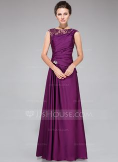A-Line/Princess Scoop Neck Floor-Length Lace Satin Chiffon Mother of the Bride Dress With Ruffle Beading (008040832) - JJsHouse