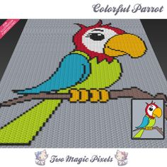 Colorful Parrot c2c graph crochet pattern; instant PDF download; baby blanket…