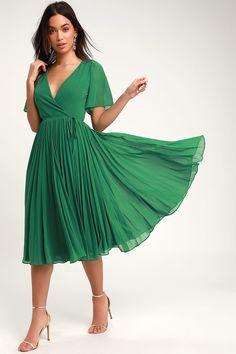 21d076eee9 Lovely Green Pleated Dress - Pleated Midi Dress - Midi Wrap Dress Green  Dresses For Sale