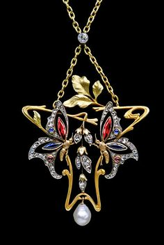 Art Nouveau Butterfly Pendant (c. 1900 France)