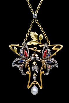 Art Nouveau Butterfly Pendant (c. 1900 France)