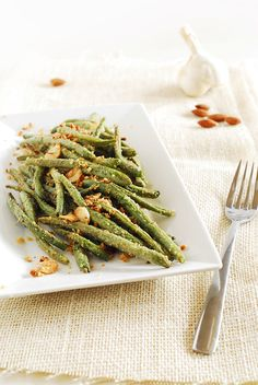 Garlic, Parmesan and almonds roasted green beans   kimkim cooking
