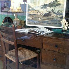 Mod desk, California coastal scene, capiz lamp, Chinoiserie.