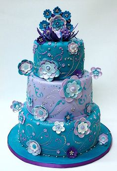 blue teal lavender Wedding cake  cake decorating ideas