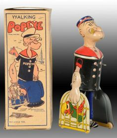 Lot # : 1342 - Marx Tin Walking Popeye with Parrot Cages Toy.