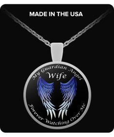 Wife Guardian Angel Round Pendant - Blue