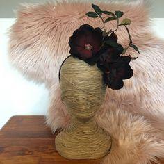 Black & Burgundy Large Magnolia Bloom / Floral Wreath / Artificial / Hair Flowers / Bridesmaid / Fake Flower / Silk / Fascinator / Headband by FauxFloralCo on Etsy https://www.etsy.com/au/listing/461650890/black-burgundy-large-magnolia-bloom