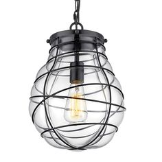 """$60.  12""""H 10""""W   YOBO Lighting Wire Caged & Glass Vintage Ceiling Pendant Light with Chain - - Amazon.com"""