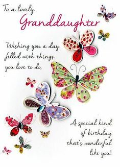 GBP - Lovely Granddaughter Birthday Greeting Card Second Nature Just To Say Cards & Garden Birthday Verses For Cards, Free Birthday Card, Happy Birthday Wishes Cards, Birthday Card Sayings, Birthday Wishes Quotes, Happy Birthday Images, Birthday Greeting Cards, Happy Birthday Verses, Birthday Greetings For Women