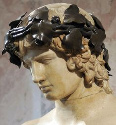 Portrait of Antinous. Detail. Marble. About the middle of 2nd century. Inv. No. A431. Saint-Petersburg, The State Hermitage Museum.