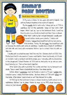 Emma's Daily Routine – Worksheet for Reading – Free ESL Printable Worksheets Created by Teachers English Grammar Worksheets, English Vocabulary, English Lessons, Learn English, Kids English, Daily Routine Worksheet, Daily Routines, Routine Printable, Daily Printable