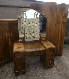 1920/30s bedroom suite antique vintage dressing table tallboy wardrobe Art deco   eBay