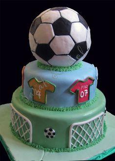 3 tier soccer ball, jersey, goal fondant cake.