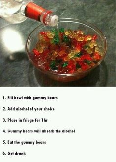 Spiked Gummy Bears - a way to get around the policy that says we can't bring in booze? I think so!