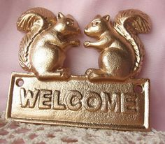 Cast  Iron Squirrel Welcome Sign  Plaque Painted  by happybdaytome, $16.95