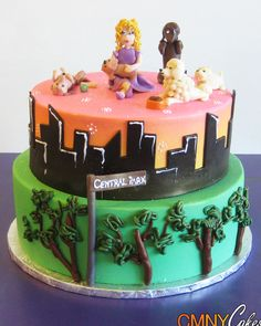 Dog Walking In Central Park Themed Birthday Cake
