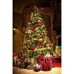 Christmas Tree ❤ liked on Polyvore featuring christmas, backgrounds, pictures, home and xmas