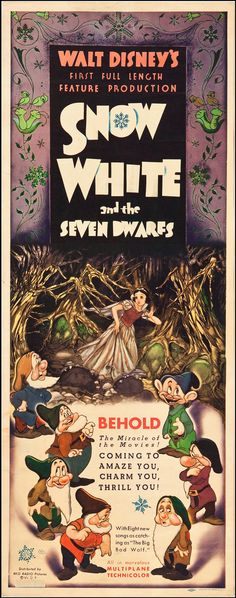 "An original 1937 movie poster insert from the North American release of Snow White. Distributed by RKO Pictures. Measures  36"" x 14"". This particular poster was rolled, never folded."