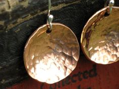 Hammered Copper Earrings Hand Forged and Domed Go by CopperWear, $15.00