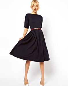 ASOS Midi Dress With Full Skirt And Belt. With pumps! With boots! With a cardi! With a thick belt! With a thin belt! With librarian glasses! With a giant statement necklace!