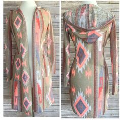 """Light  knit full length cardi Large Beautiful hooded cardi  large  Large side pockets  Light knit   Large bust 38-40  sleeve length shoulder seam down 24 Total length 36""""    78% polyester 22% rayon  NWOT and EXCELLENT QUALITY   RETAIL BRAND NEW BUT NO TAGS Jackets & Coats"""
