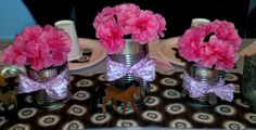 Tutus and Taffeta: Cowgirl party centerpieces Cowgirl Party Centerpieces, 6th Birthday Parties, 3rd Birthday, Shower Party, Baby Shower Parties, Sheriff Callie Birthday, Party Themes, Party Ideas, Pony Party