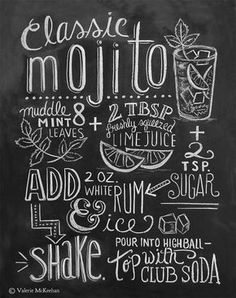 Mojito Recipe Chalkboard Art Print by valeria Cocktail Drinks, Alcoholic Drinks, Beverages, Summer Chalkboard Art, Bar Deco, Art Restaurant, Lily And Val, Posters Vintage, Chalkboard Designs