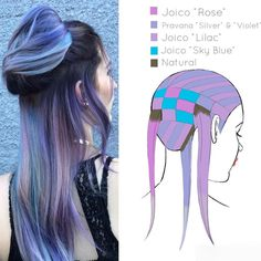 We love this softer take on the unicorn/mermaid trend from stylist and Jennifer Lopiccolo ( that blends pastel purple, blue and rose for a dreamy color melt fit for all your unicorn clients! Here's her color formula, plus a handy placement diagram. Hair Dye Colors, Cool Hair Color, Hair Color Placement, Color Melting Hair, Fantasy Hair Color, Color Fantasia, Underlights Hair, Hair Color Formulas, Hair Color Techniques