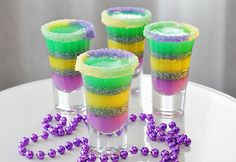 Ten Variations of King Cake Recipes for Mardi Gras, including King Cake pancakes, King Cake cupcakes, and even King Cake shots. Party Drinks, Fun Drinks, Yummy Drinks, Alcoholic Beverages, Mixed Drinks, Yummy Shots, Bunco Party, Party Shots, Fun Cocktails