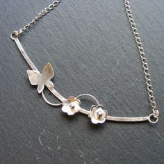 Necklace in Sterling Silver With Hand Forged Flowers and Butterfly Hall Marked £55.00
