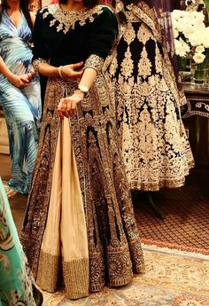 To the winter bride, one of the best option is to incorporate velvet in your dress, not only will it keep you warm, it also looks royal. but keep it in dark colors as light colors will look tacky. Pakistani Wedding Dresses, Indian Wedding Outfits, Pakistani Outfits, Indian Dresses, Indian Outfits, Indian Attire, Indian Wear, India Fashion, Asian Fashion